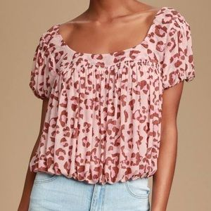 Free People Pink Leopard Print Top Size XS